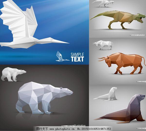 多款卡通动物剪纸矢量图