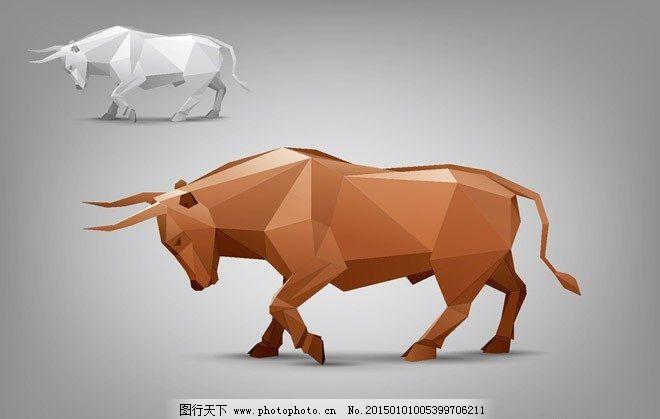 牛免费下载 3d 动物 多面体 模型 折纸 质感 多面体 动物 模型 折纸