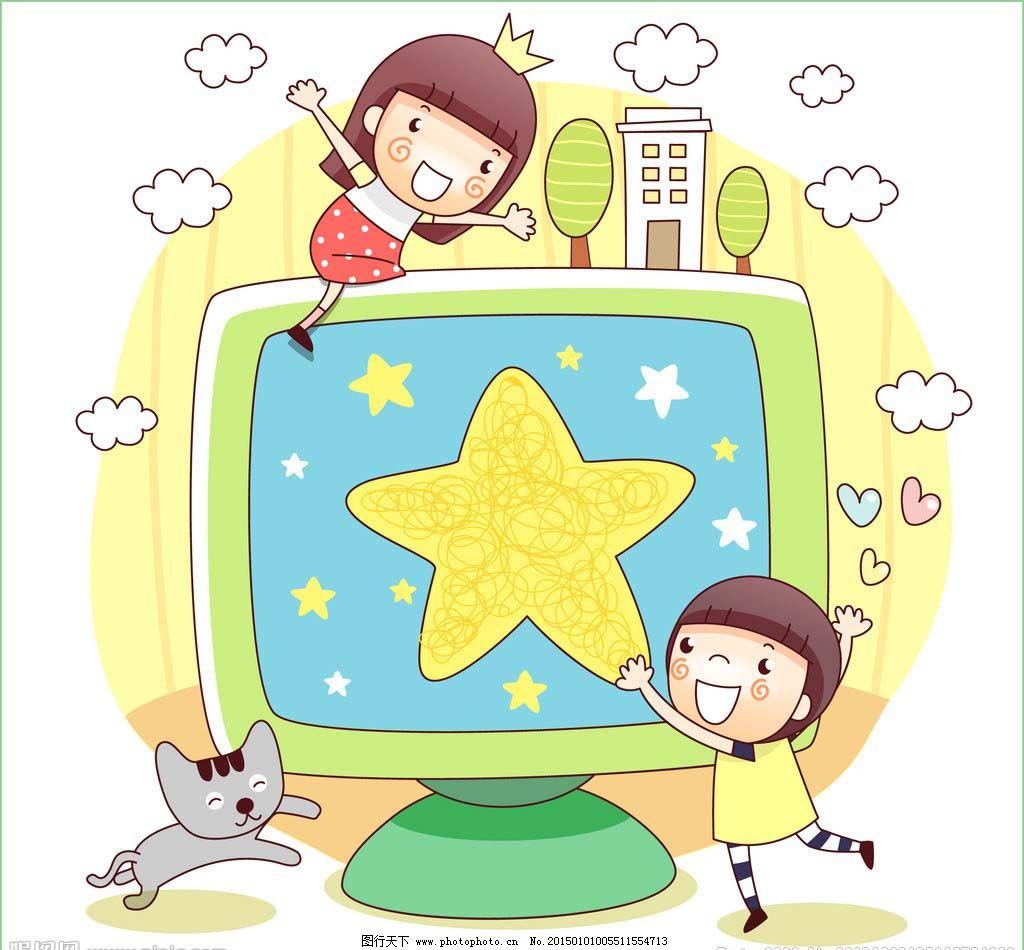 水彩 屏幕 显示屏 星星 小猫 树木 房子 插画 水彩 背景画 卡通 图画