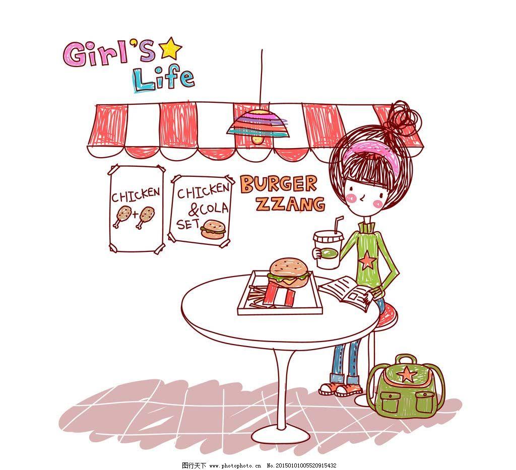吃汉堡喝饮料的女孩图片