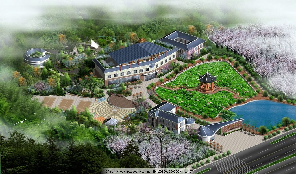农家乐 全景 水池 荷花 建筑 设计  设计 环境设计 建筑设计 300dpi
