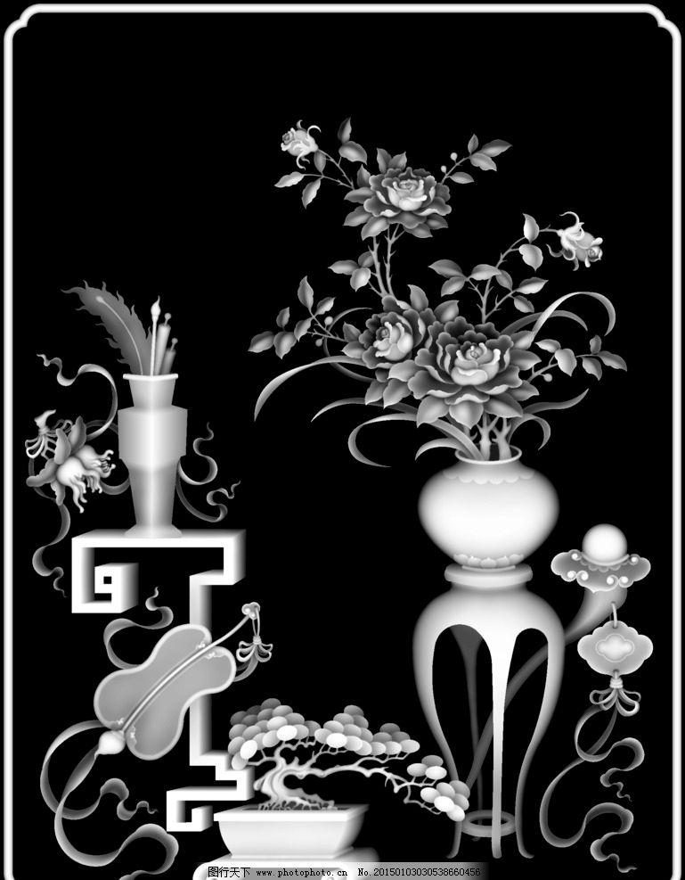 黑白图 艺术 实木雕刻图 木门雕刻图 雕刻图 浮雕图 bmp 龙凤灰度图