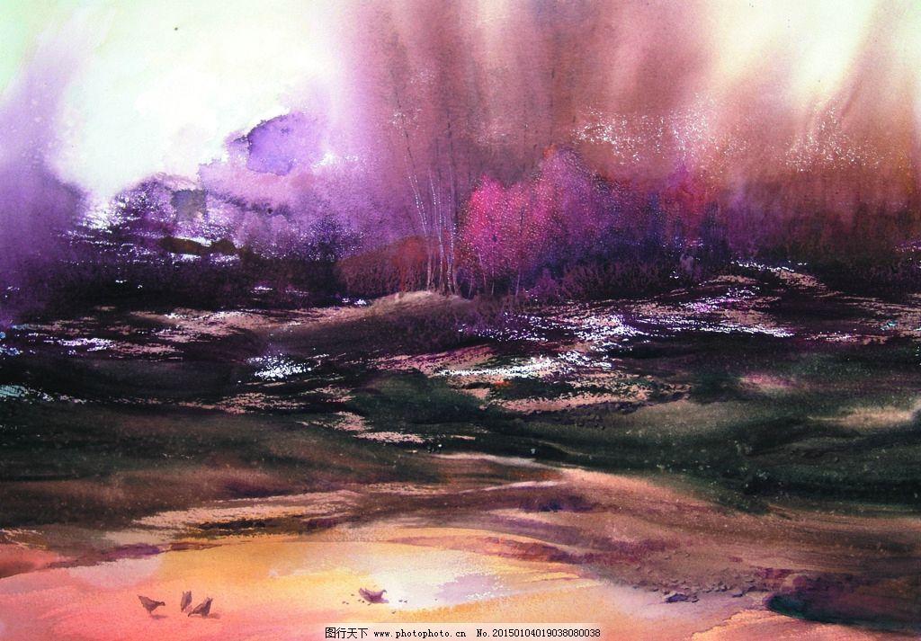 美术 水彩画 风景 乡野 树林 坡地 鸡群 设计 文化艺术 绘画书法 72
