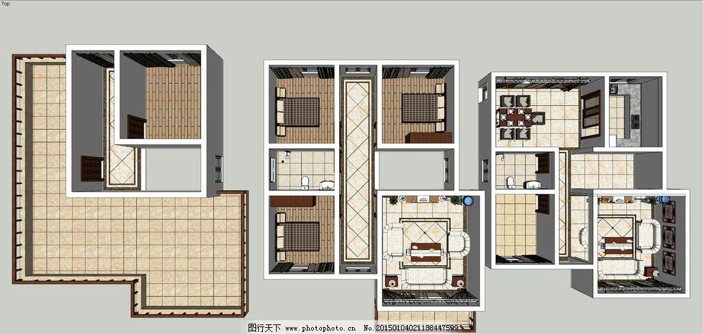 别墅 铺贴设计 sketchup 草图大师 sketchup 设计 3d设计 室内模型
