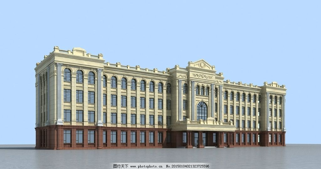 欧式学校3d模型图片