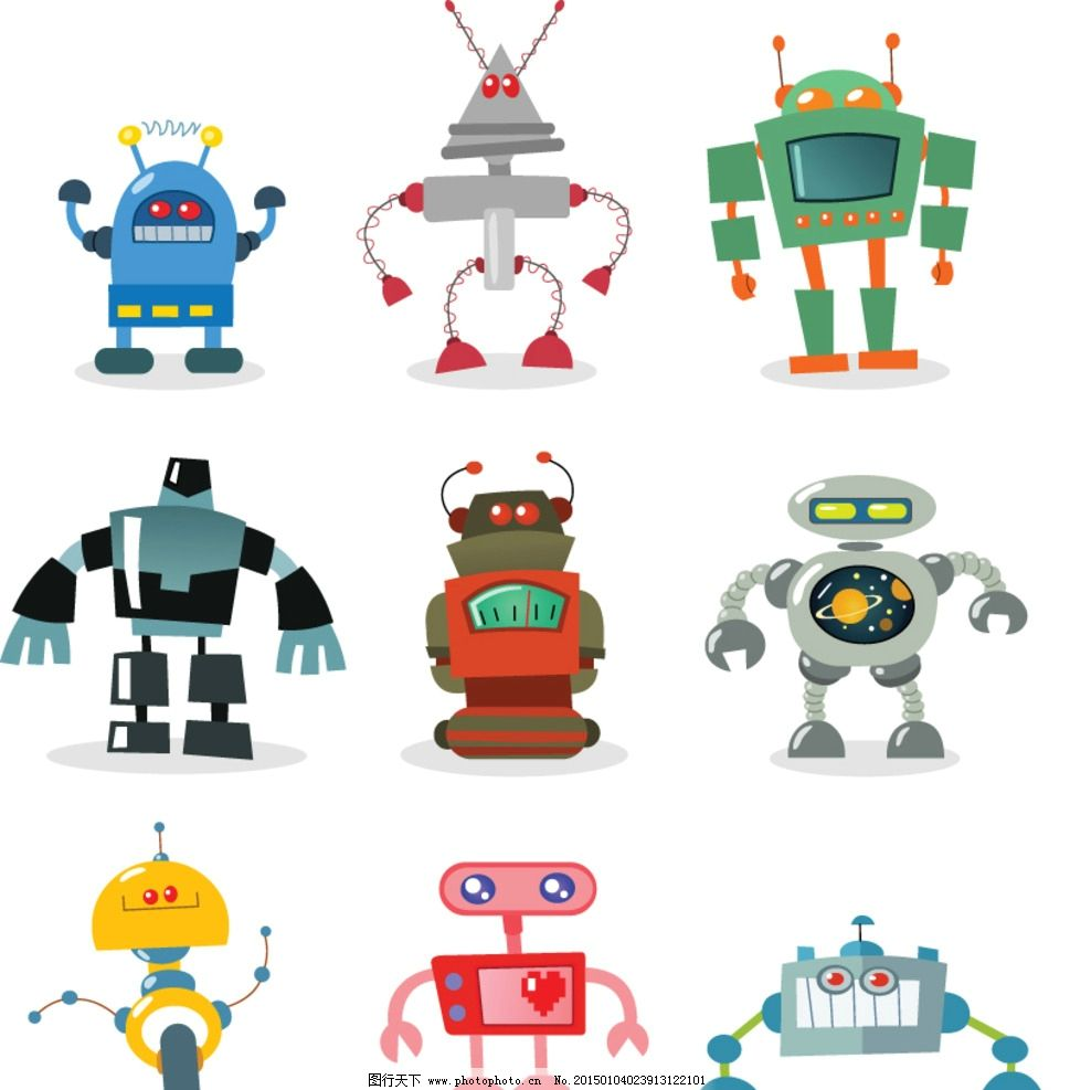 机器人 创意 手绘 卡通动漫 动漫角色 卡通机器人 科技时代 设计 eps