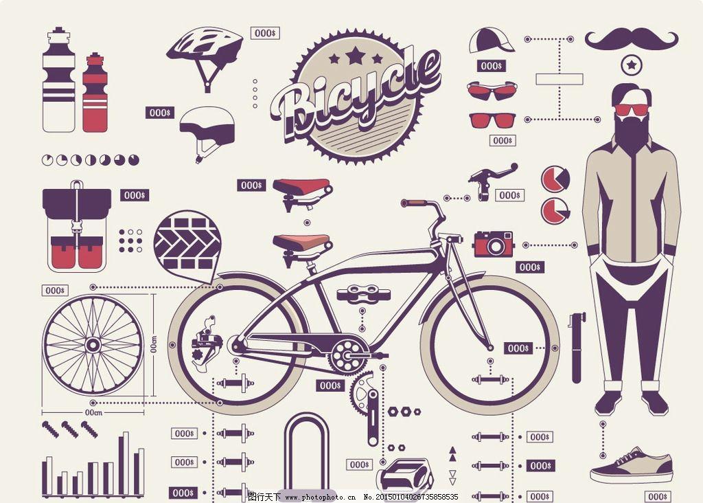 脚踏车 手绘 bike 自行车零件 老式自行车 交通工具 现代科技 设计