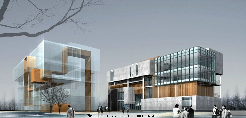 建筑效果图 国外效果图 办公效果图 低点透视 简洁风格        设计