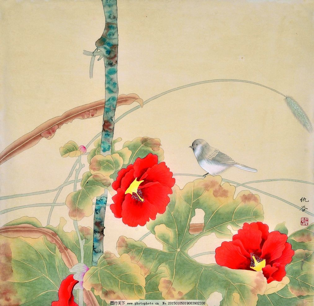 美术 中国画 工笔画 花鸟画 芙蓉花 鸟儿 仇谷国画 设计 文化艺术