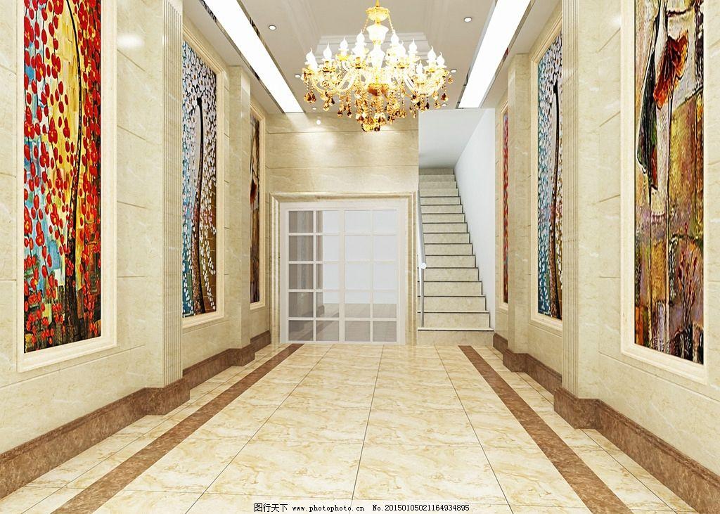 入口 过道效果图带贴图 玄关 餐厅过道 餐厅入口 欧式过道 欧式入口