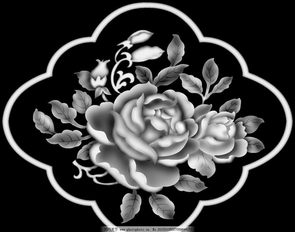 花 牡丹 牡丹花 灰度 灰度图 黑白 设计 生物世界 花草 50dpi bmp