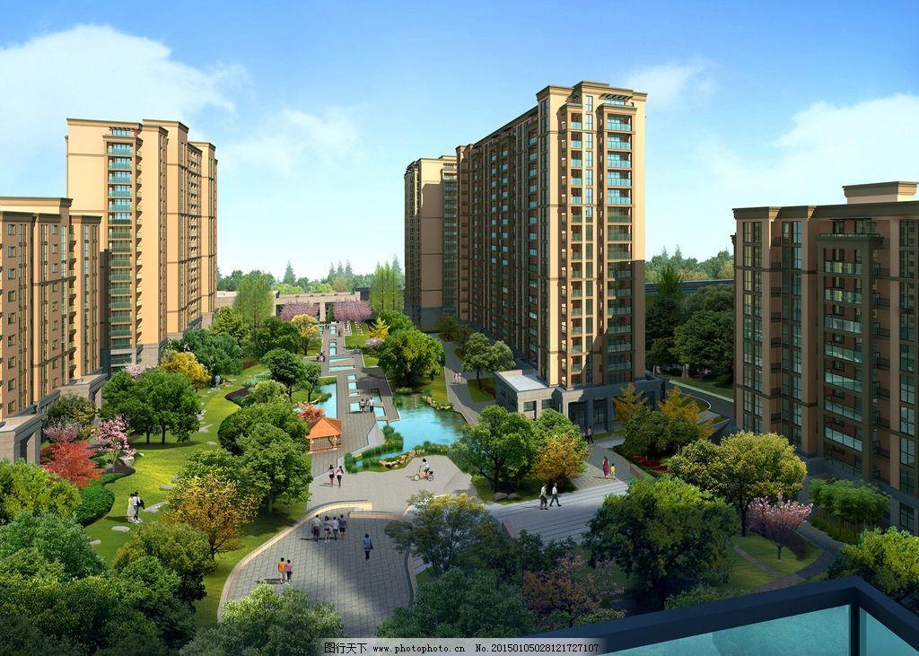 住宅楼 住宅效果图 小区 花园 高层 住宅        3d 绿化 景观 天空
