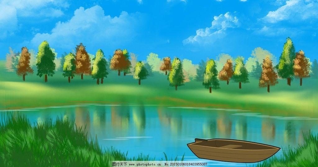 水彩 插画 树 油画 艺术 风景 自然 船 蓝色 美丽 景观 绿色 湖泊