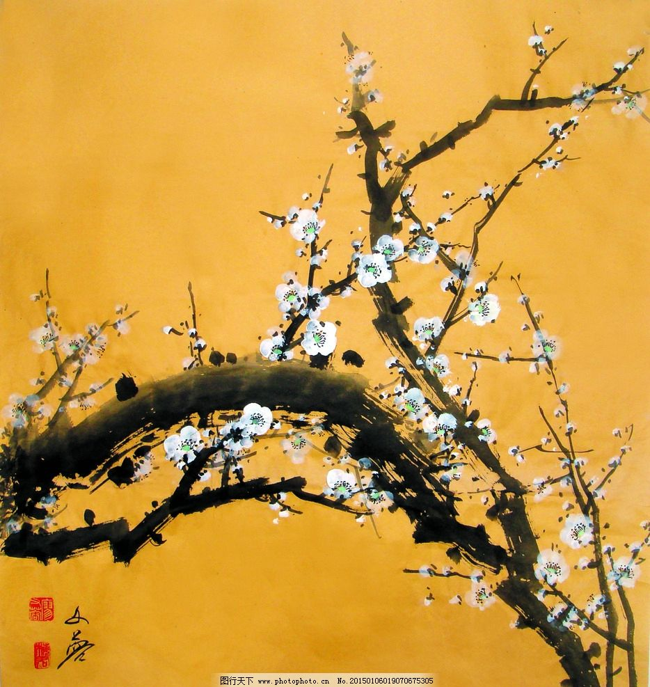 美术 中国画 彩墨画 花木 梅花 白梅 国画梅花 设计 文化艺术 绘画