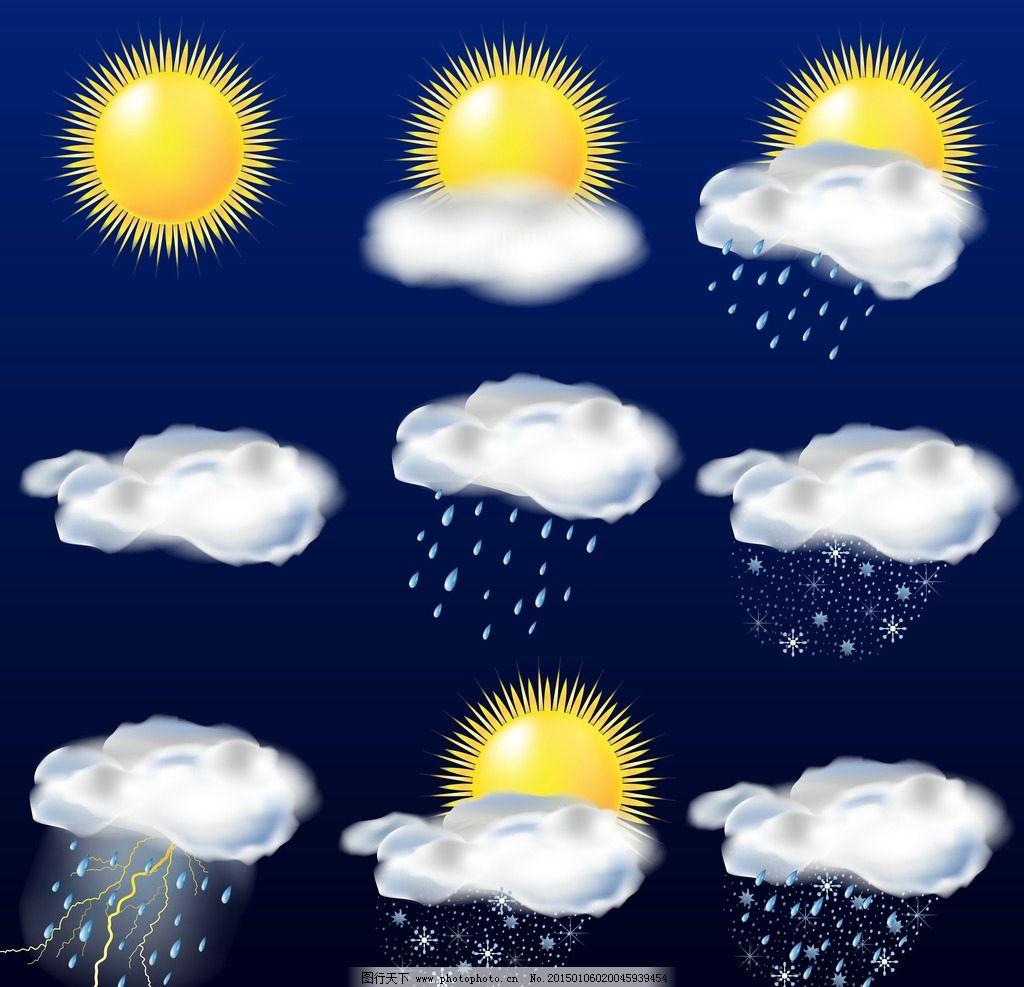 天气图标 天气预报图标 晴阴 云彩 多云 雪雨 太阳 阵雨