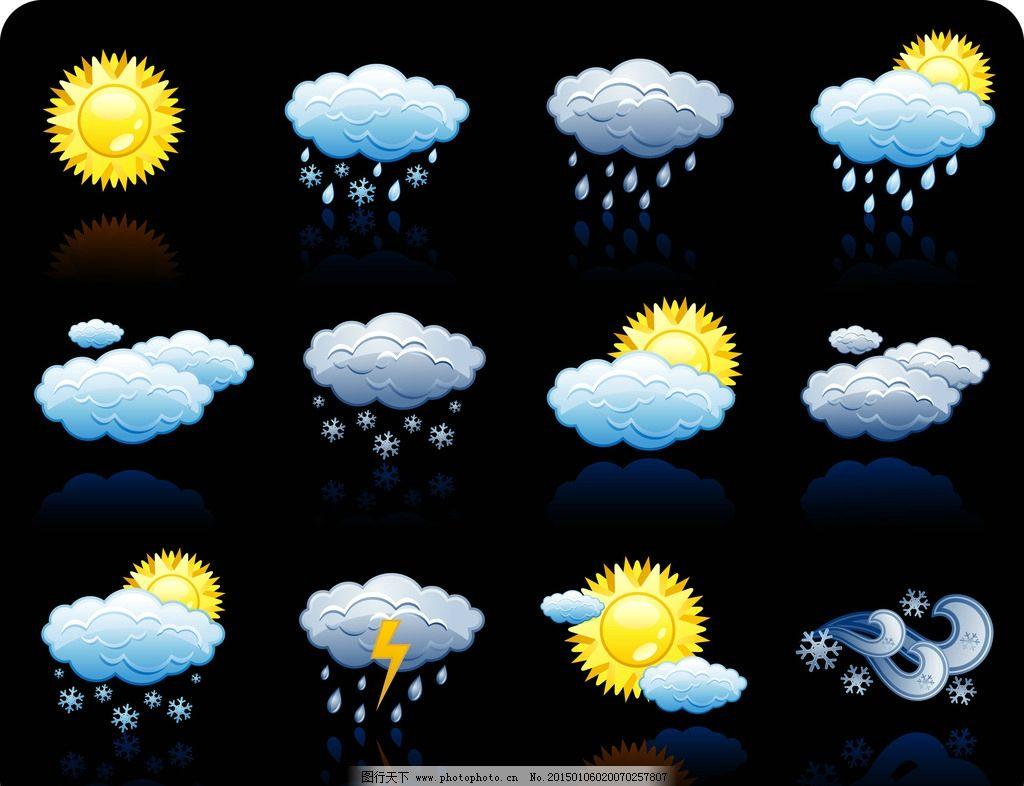 天气图标 天气预报 晴阴 云彩 多云 雪雨 温度 太阳 阵雨