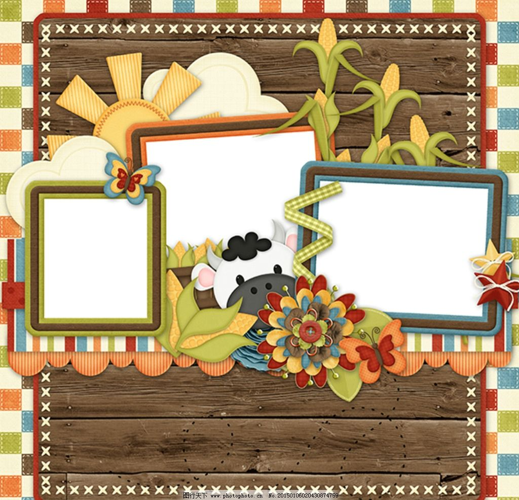 儿童相册模板 相框模板 方形相框 田园风格相框 相册框花边 设计 底纹