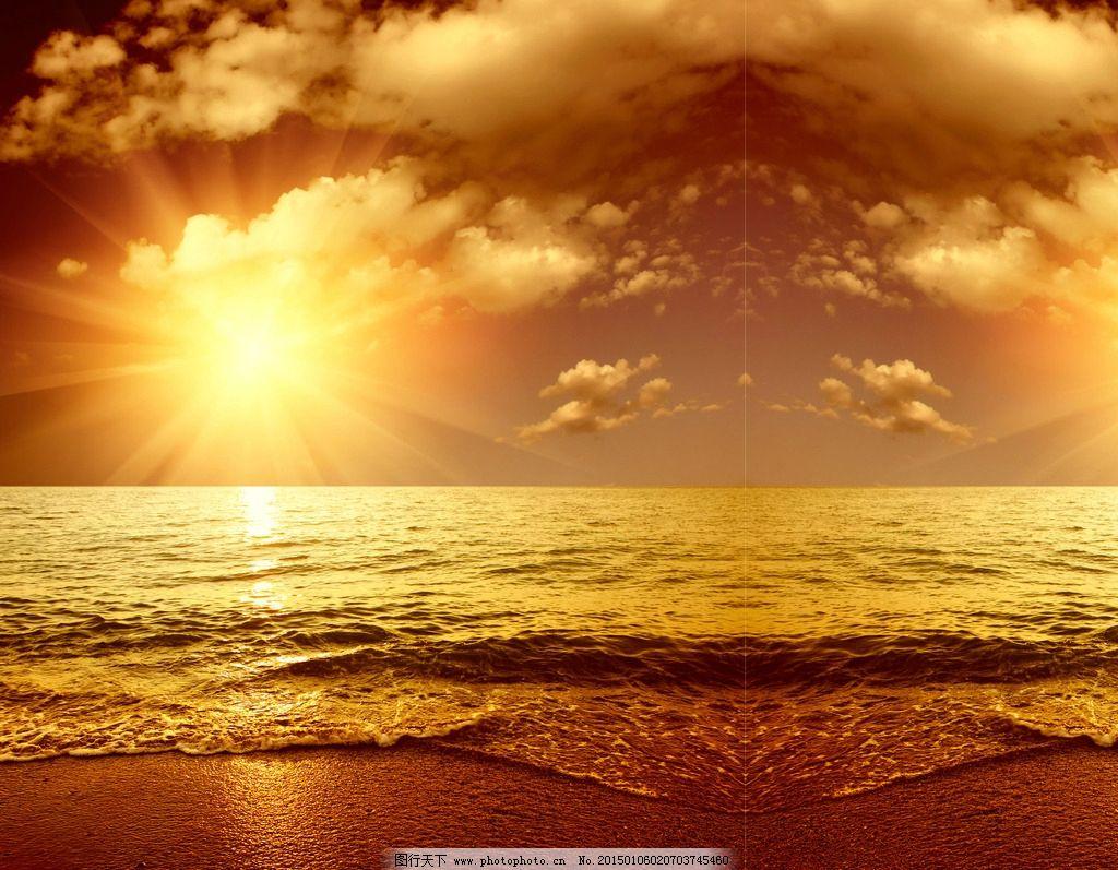 海边日落 移门图片