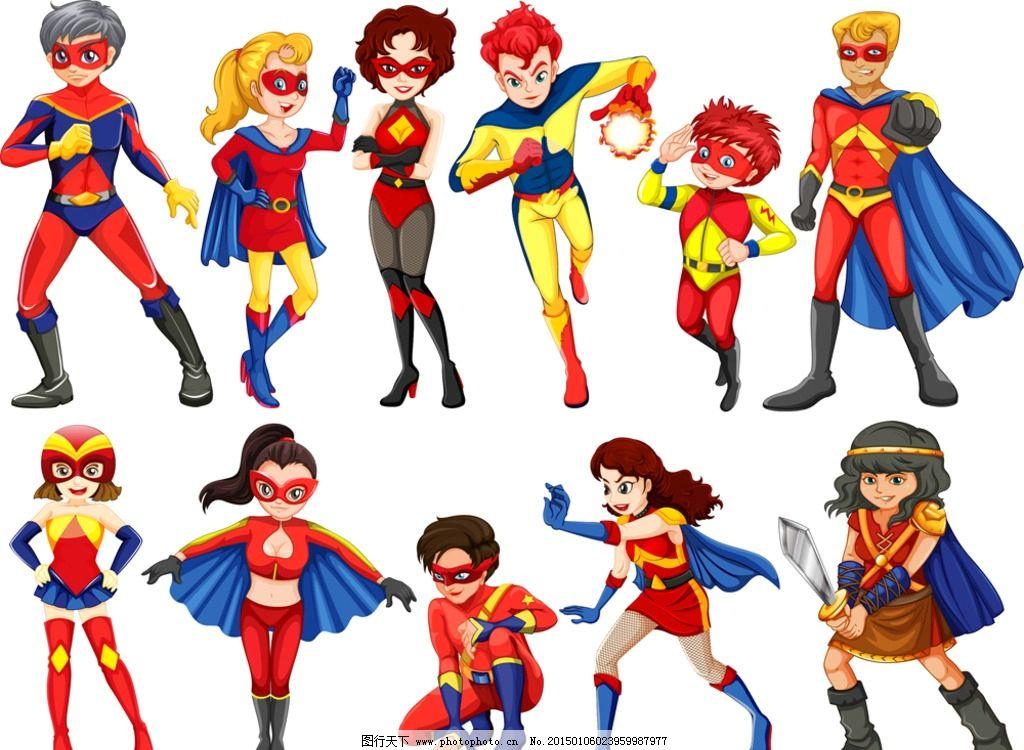 超人 手绘 漫画 卡通 女超人 王子 公主 男性 男人 设计 矢量 eps