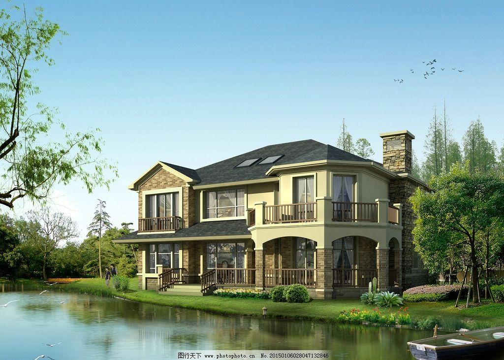 欧式别墅 别墅效果图 景观园林设计 环境设计 豪华别墅 河边别墅 中式