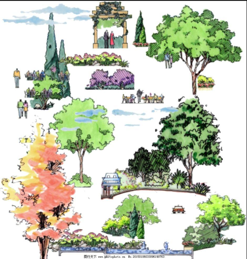 树 水彩树 建筑配景 写意树 枯树 植物 配景 设计 psd分层素材 psd
