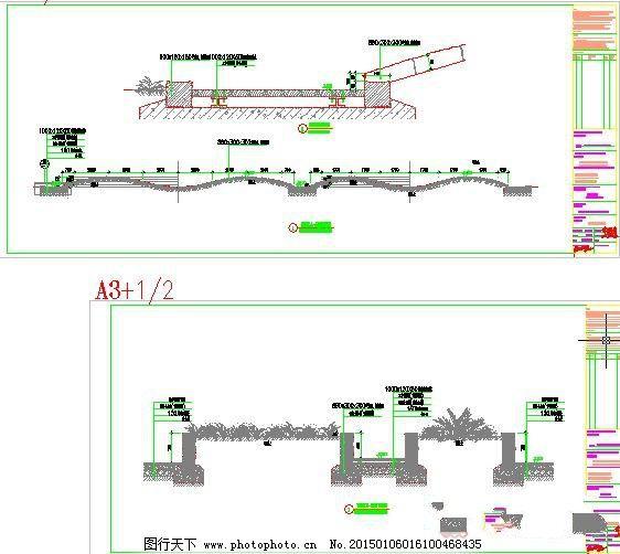 设计图库 cad素材 景观图纸  绿地花池道路剖面图免费下载 cad图纸
