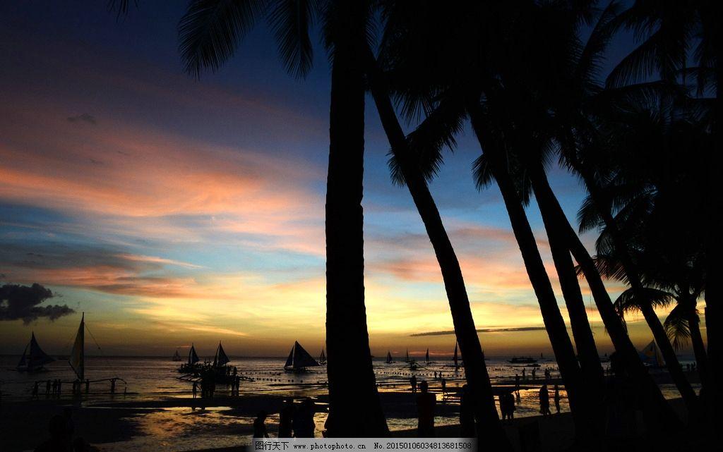海滨 椰树剪影 落日 夕阳海滨 退潮的沙滩 摄影 自然景观 自然风景 30
