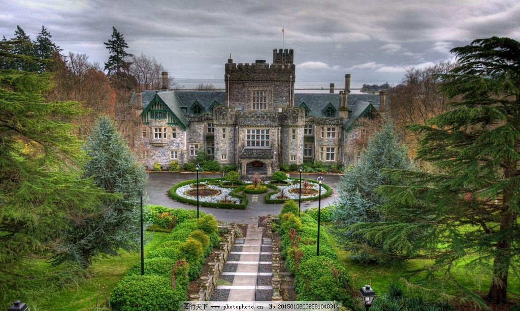 建筑 风景 欧洲式样 老建筑 庭院 小广场 花坛 小道 灯柱 花草树木图片