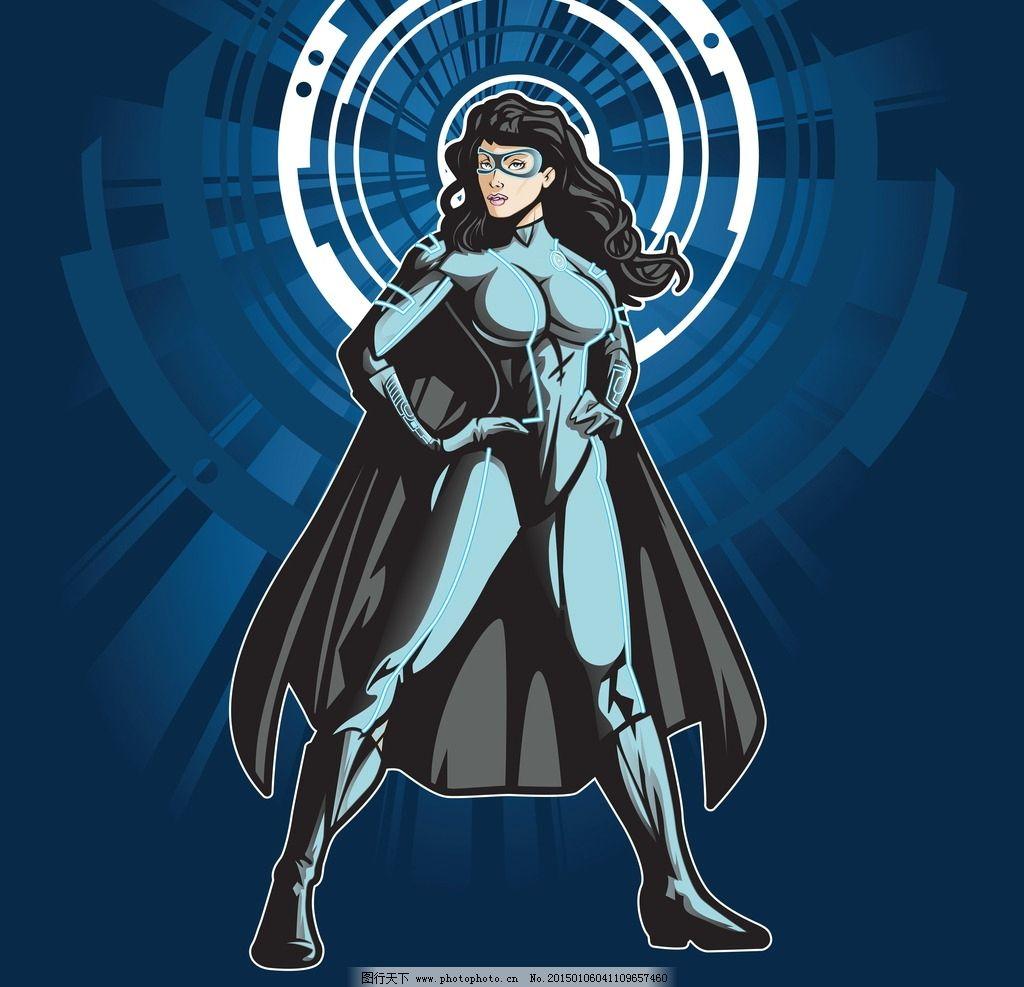 女超人 手绘 漫画 卡通 动漫形象 女性 女人 矢量 人物图库