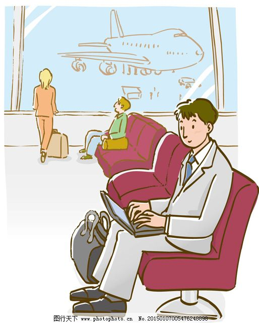 机场接线员卡通