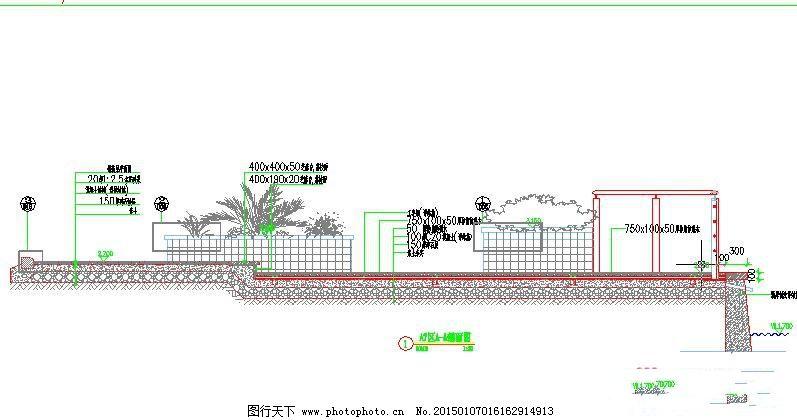 设计图库 环境设计 园林设计  a7区绿化剖面图免费下载 cad图纸 建筑