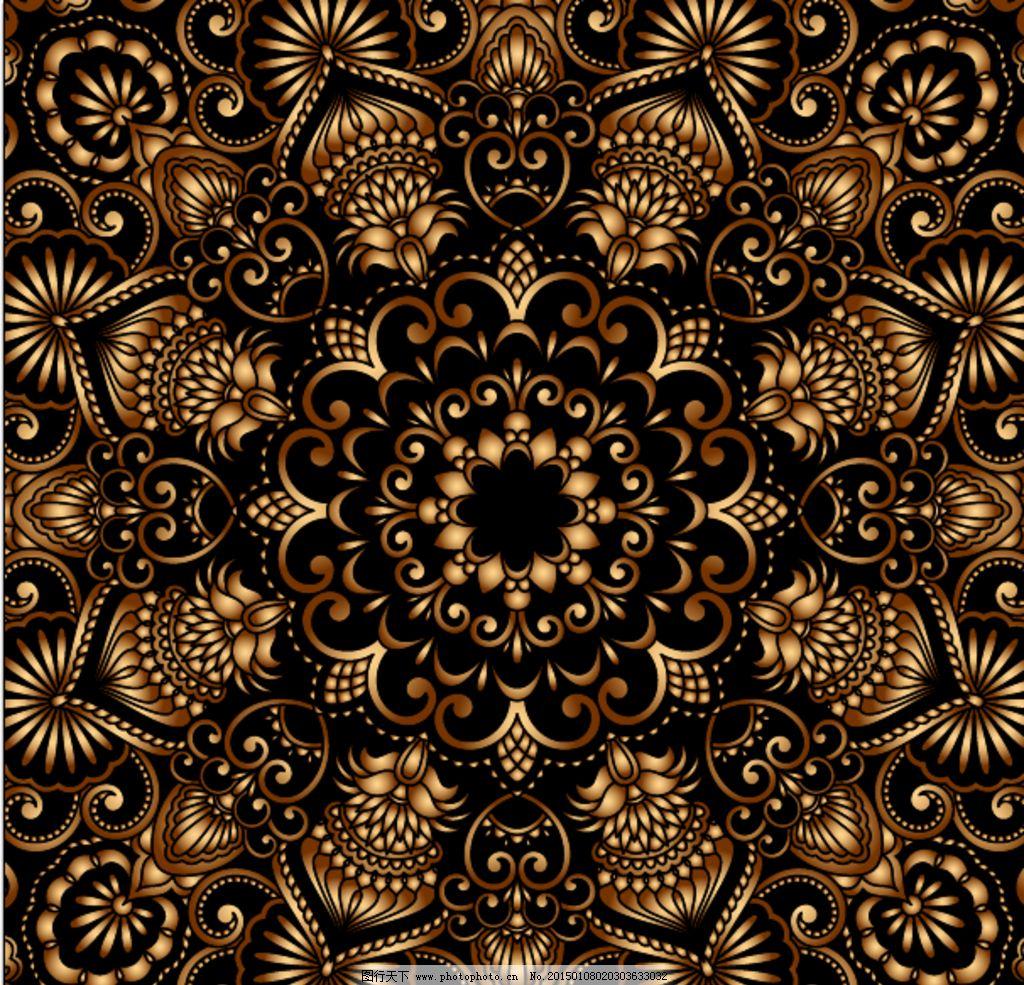 金色古典花纹 鎏金 底纹 暗色 中心 设计 底纹边框 花边花纹 ai