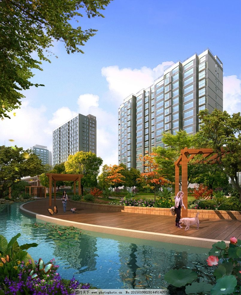 小区绿化效果图 住宅 小品 广场 休闲区 植物配置 水生植物 陆生植物