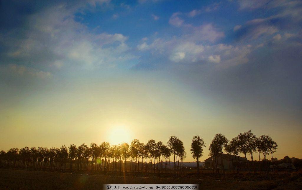 落日 夕阳 风景 剪影 摄影 天空 白云 蓝天 树 房子 草地 太阳 摄影