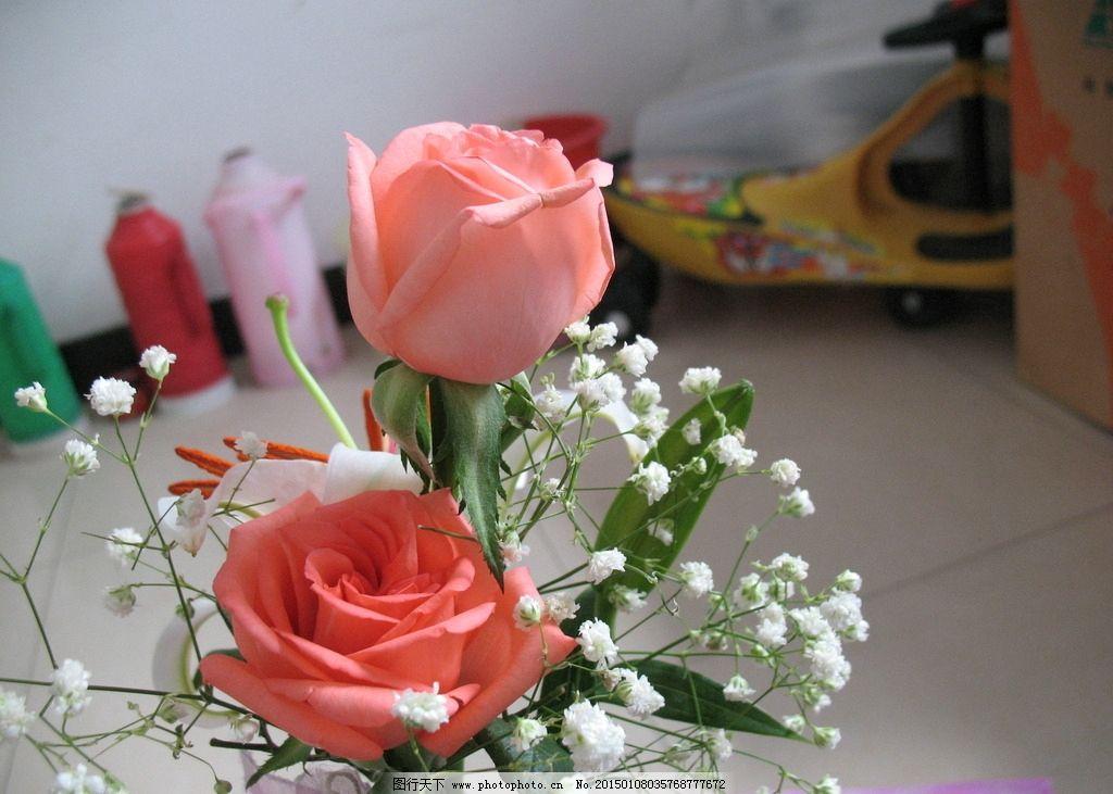 鲜花 粉玫瑰 红玫瑰 玫瑰花 百合花 玫瑰百合 花卉 满天星 植物