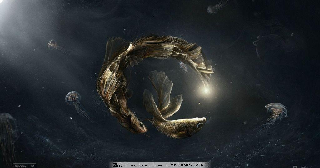 鱼 海底 创意 动漫 海母 海底生物 动物 人物