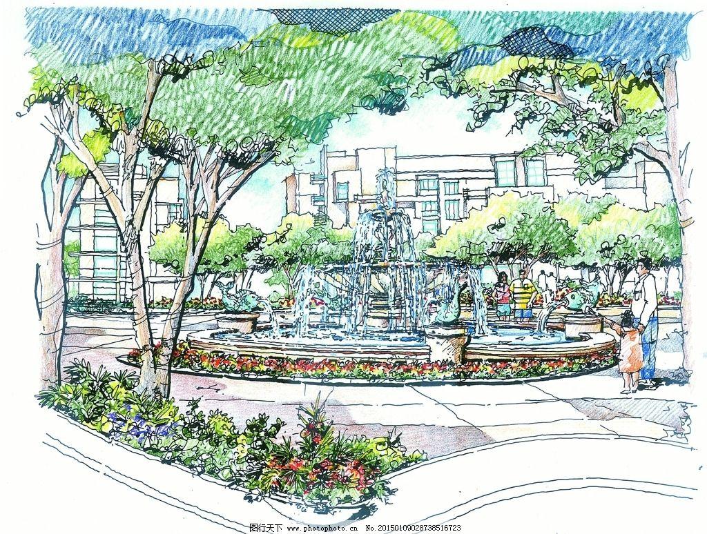 手绘广场 景观设计 手绘表现 徒手表现 彩铅表现 彩铅风景 马克笔表现