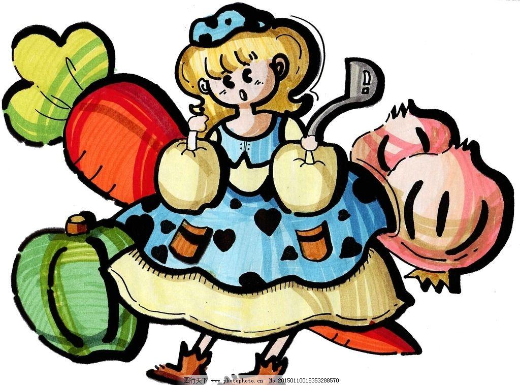 可爱的卡通小女孩 花裙子 胡萝卜 海报 宣传画 动漫动画