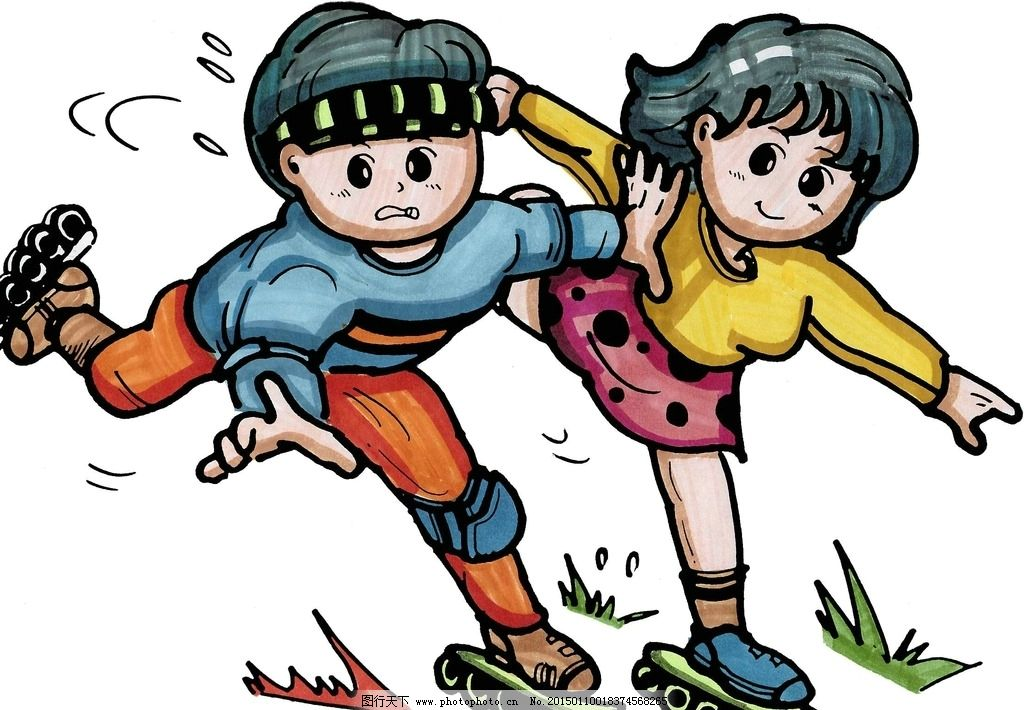 滑旱冰卡通人物 男孩 女孩 宣传画 海报 动漫动画