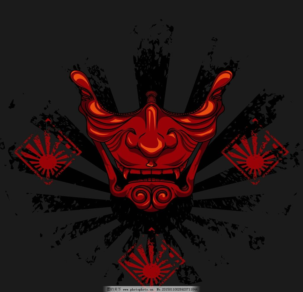 武士头盔 手绘 盔甲 日本武士面具 脸谱 面罩 头饰 矢量