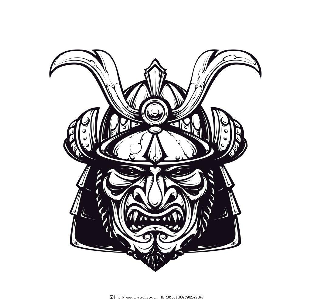 武士头盔 手绘 盔甲 日本武士面具 脸谱 面罩 头饰 矢量 eps 设计