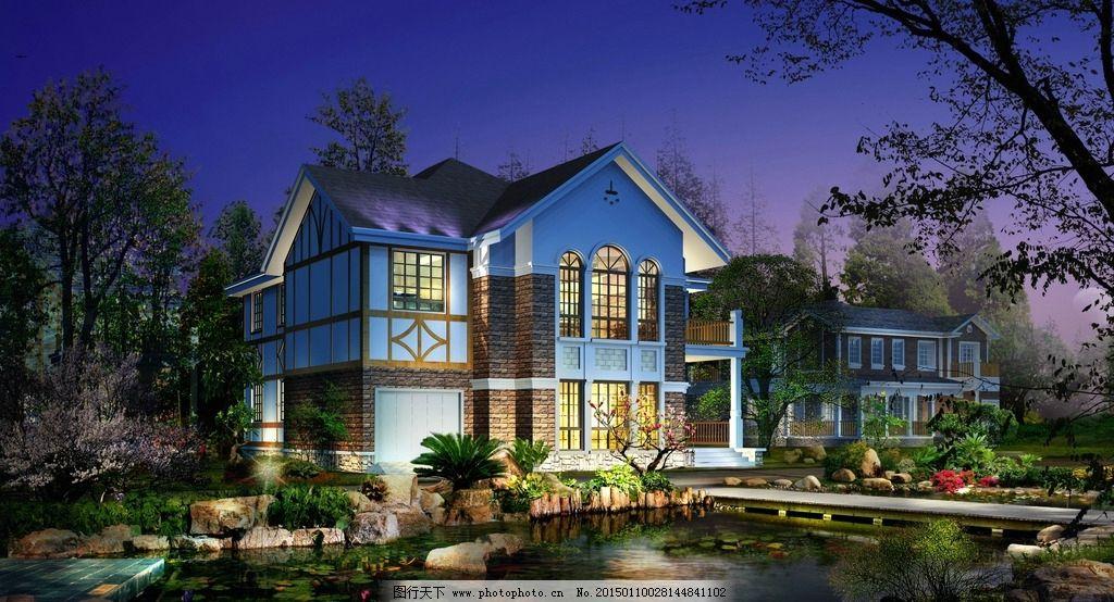 景观 园林 别墅        环艺设计 园林景观ps分层效果图 设计 环境