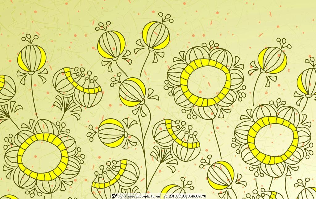 金黄手绘向日葵背景图图片