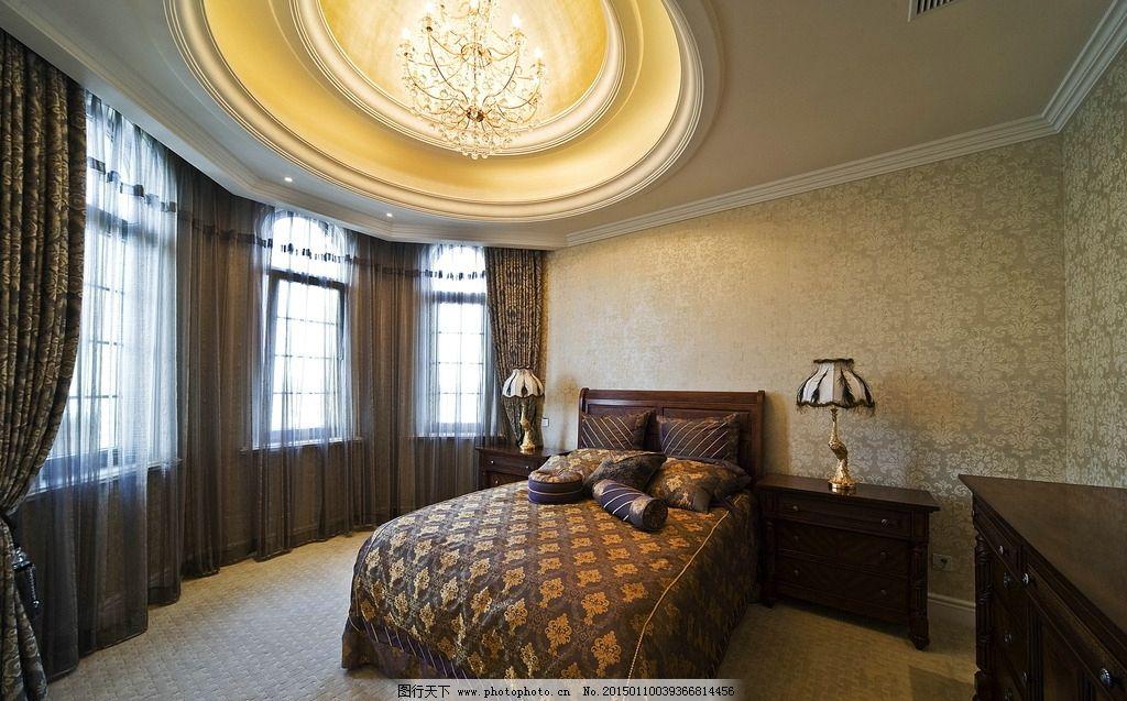 装修图 样板房 卧室 欧式风格 台灯 水晶灯 圆形天花 床 摄影
