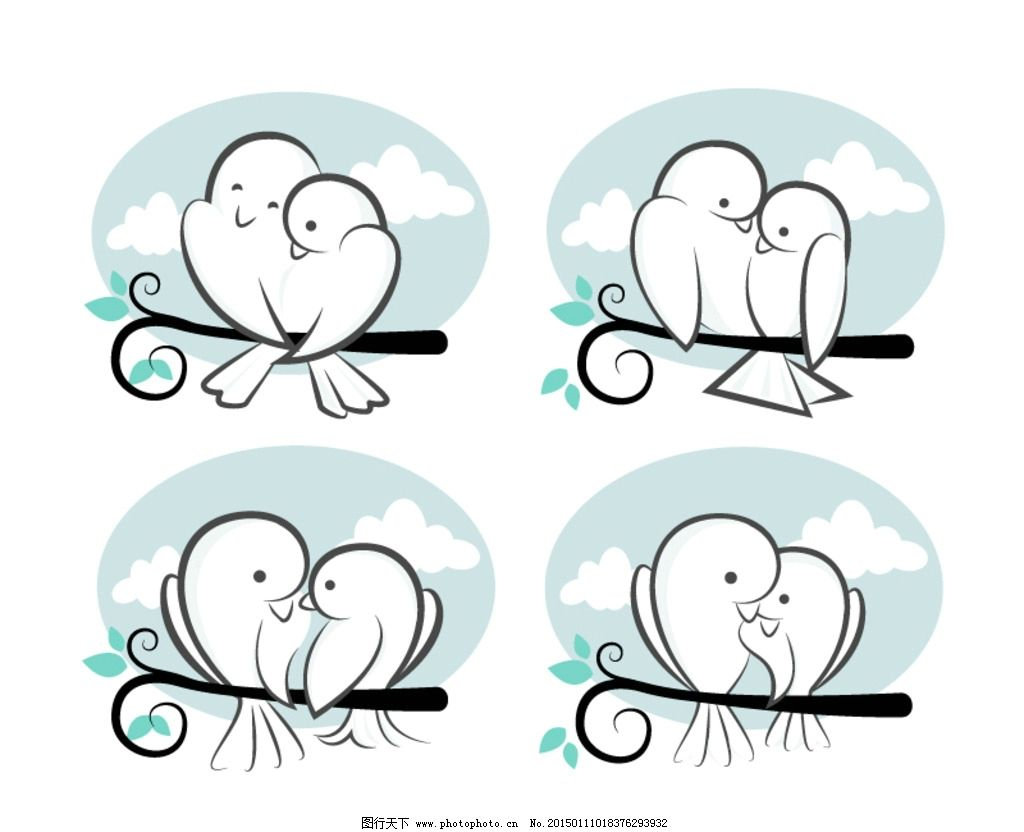 卡通情侣鸟儿 恩爱小鸟 卡通情侣插画 云朵树枝 动物 设计 广告设计