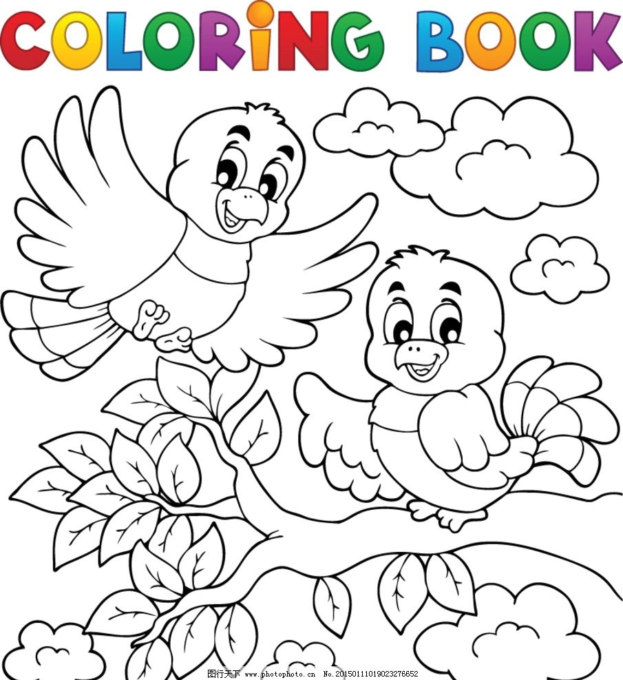 卡通插画 手绘插图 卡通背景 鸟 儿童着色绘画 黑白彩绘底图 轮廓