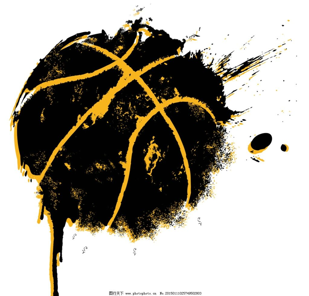 篮球 手绘篮球 cba 墨迹
