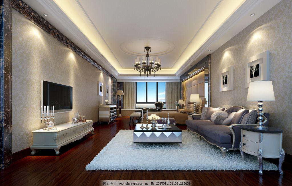 时尚简欧客卧图片免费下载 环境设计 家具 欧式家具 设计 室内设计