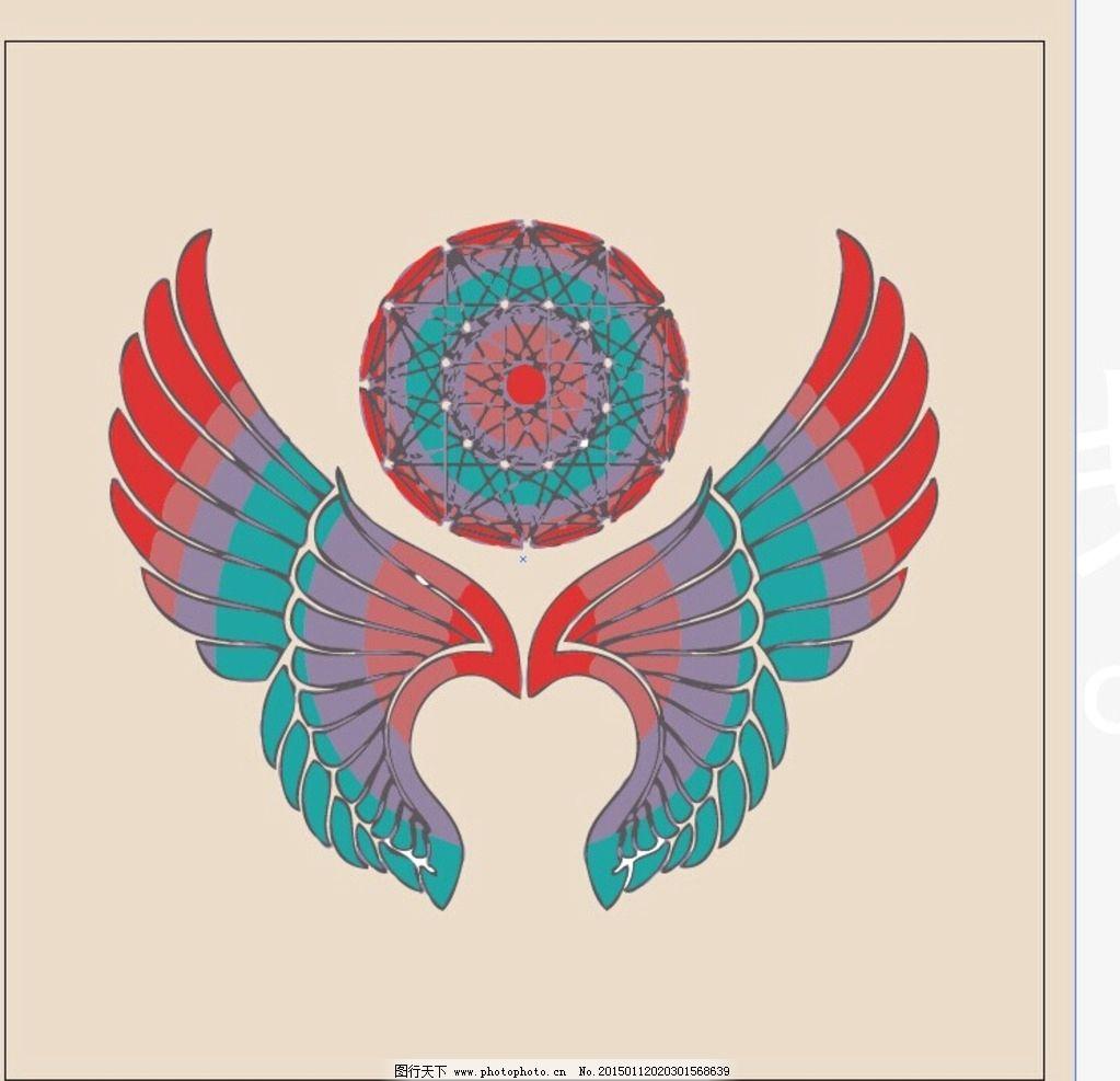 时尚手绘 翅膀 场景画 艺术效果 手绘 t恤印花      设计 底纹边框
