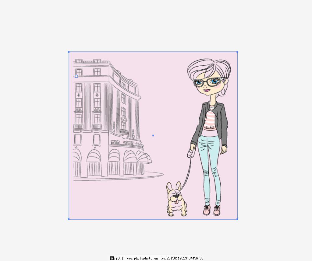 矢量 ai cdr 时尚手绘女人 场景画 人物 女人 楼房 动物 狗 艺术 艺术